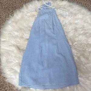 Gingham design blue dress